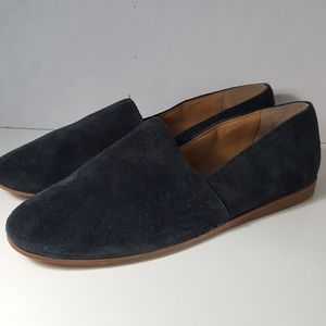 Franco Sarto Womens Navy Leather Suede Loafers 9M